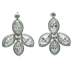FRED LEIGHTON - Diamond Marquise Leaves Drop Earrings   From a unique collection of vintage chandelier earrings at http://www.1stdibs.com/jewelry/earrings/chandelier-earrings/