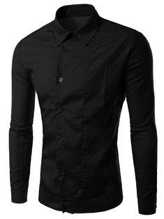 Back Pleat Asymmetrical Front Plain Shirt