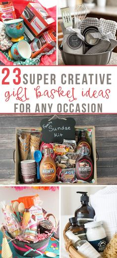 23 Creative Gift Baskets for Any Occasion - Momology These creative gift basket ideas are perfect for any occasion! 23 Creative Gift Baskets for Any Occasion - Momology These creative gift basket ideas are perfect for any occasion! Creative Gift Baskets, Mother's Day Gift Baskets, Themed Gift Baskets, Christmas Gift Baskets, Raffle Baskets, Creative Gifts, Gift Basket Themes, Theme Baskets, Gift Baskets For Families