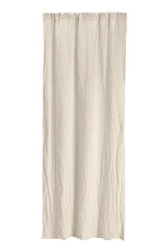 Washed linen curtain length: PREMIUM QUALITY. Curtain length in washed linen with a heavy drape. Wide cased heading. Hemming tape included. Contains one curtain length.