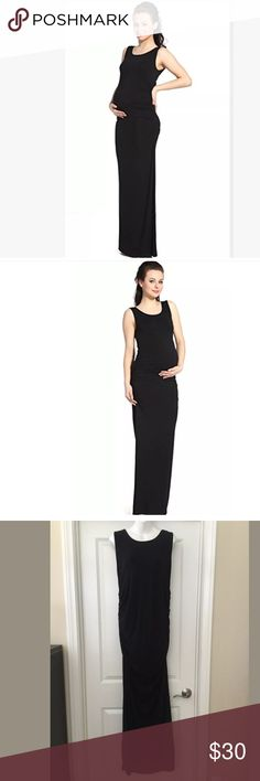 """Momo maternity Charlotte black maxi dress new L Full length and ultra fabulous, this figure-skimming maternity dress has been designed in an ultra-soft modal and spandex blend fabric. This ruched maxi style is perfect for evenings out or layering under a cropped jacket. Sleeveless; Scoop neck Maxi length 95% modal and 5% spandex Machine wash; dry flat Imported Bust  (L)39-41 inches  Length 59.5""""  Smoke/pet free home Momo maternity Dresses Maxi"""