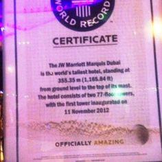 JW Marriot hotel mais alto do mundo - certificado