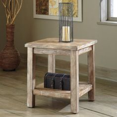 Signature Design By Ashley Rustic Accents Bisque Chair Side End Table #designtable