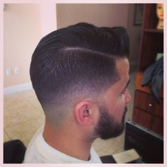 Nice low taper faded into beard and scissor the crown and very top with definite part use trimmers to make it cleaner