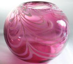 Transparent Magenta Bowl With Opaque White by ElliottGlassArt, $99.95