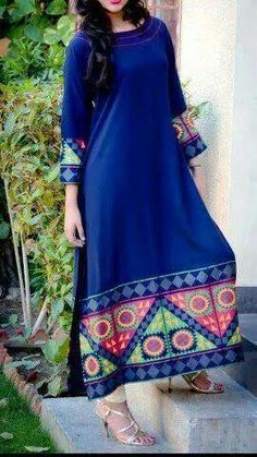 Peacock Blue kurta. Indian fashion.