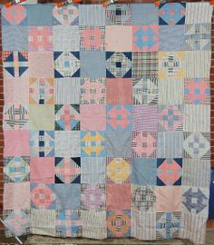 churn dash quilt top: I think these colors are going to be popular again Old Quilts, Antique Quilts, Scrappy Quilts, Vintage Quilts, Baby Girl Quilts, Girls Quilts, Shirt Quilt, Quilt Top, Churn Dash Quilt