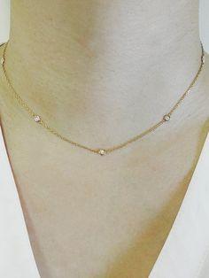Diamond Bezel Set Necklace Diamond by Yard 7 Bezel Diamond Necklace Minimalist Necklace Station Necklace