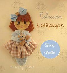 Muñeca fieltro. Piluka Colección Lollipops. Honey Menthol