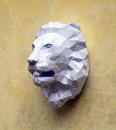 Make Your Own Lion Sculpture. Papercraft Lion  by PlainPapyrus
