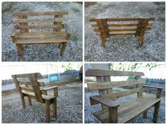 Bench out of recycled pallet wood and varnished. Banc en bois de palette recyclé et verni.