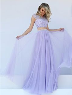 A-Line/Princess Bateau Sleeveless Floor-Length Tulle Applique Two Piece Dresses - Prom Dresses