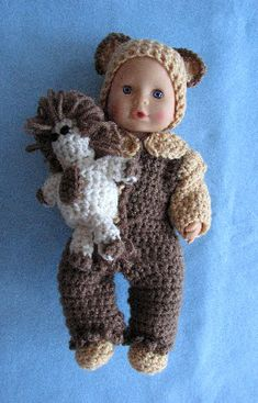 12-inch Baby Doll Lion Pajamas, Hat, Shoes & Toy Lion Free Crochet Pattern