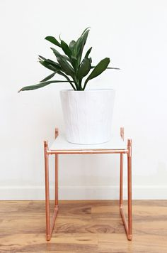 copper and marble plant stand DIY