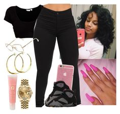 """""""Out at the mall wid bestie ✨✨"""" by saucinonyou999 ❤ liked on Polyvore featuring Cazal, BP., Rebecca Norman, Lancôme and Rolex"""