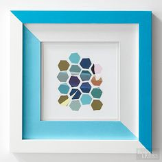 Make Cheap White Frames Look Custom: using acrylic paint on the frame and the mat for a dynamic, diagonal color-blocking frame. Metallic Gold Spray Paint, Painted Picture Frames, Picture Wall, Easy Frame, Mirror Painting, Diy Art Projects, Diy Canvas, Diy Wall Art, Makati