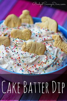 How To Throw A Kid Friendly Super Bowl Party. This colorful cake batter dip is sure to be a hit with the kids!