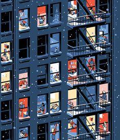 House illustration: Books and bad weather | Books Around The Table. #illustration #houseillustration #art #artwork Image Pixel Art, Read Magazines, Back Of Neck Tattoo, Art En Ligne, House Illustration, Illustrations, City Architecture, Book Images, Book Nooks