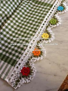 crochet flower edging or trim Ponto Preso1: CROCHE - Em tempos de Natal ...