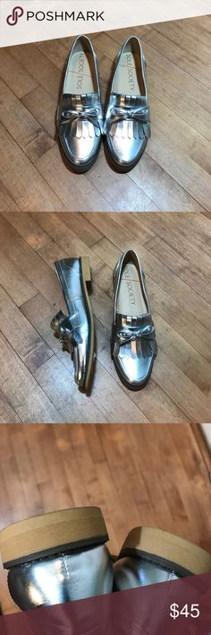 Sole Society Silver Metallic Flat Fringe  loafers NWT - Huxley Loafer - Classic meets trendy with these menswear-inspired loafers featuring traditional kiltie fringe and a top-bow detail. Slip-on style. Sole Society Shoes Flats & Loafers