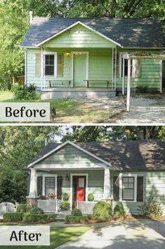 This Depression-era cottage was licking its wounds in a quiet Atlanta neighborhood. Spiffy black paint revived the original windows. The homeowner's dad helped make the complementary board-and-batten Home Exterior Makeover, Exterior Remodel, Diy Exterior, Exterior Paint, Exterior Design, Renovation Facade, Cottage Renovation, Small House Renovation, Home Renovations