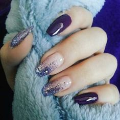 Nails Design Purple Glitter Blue Super Ideas - Nägel ideen - Best Nail World Purple Nail Designs, Nail Art Designs, Fancy Nails Designs, Beautiful Nail Art, Gorgeous Nails, Stylish Nails, Trendy Nails, Ongles Gel Violet, Hair And Nails