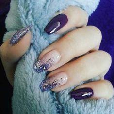 Nails Design Purple Glitter Blue Super Ideas - Nägel ideen - Best Nail World Purple Nail Designs, Nail Art Designs, Fancy Nails Designs, Stylish Nails, Trendy Nails, Beautiful Nail Art, Gorgeous Nails, Ongles Gel Violet, Hair And Nails