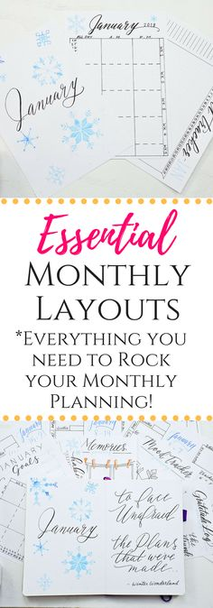 Essential monthly layouts