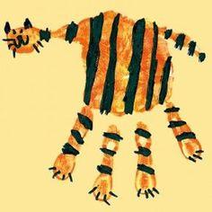 Tiger drucken mit der Hand