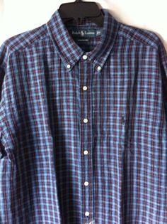 0c47b0ef509 (XL) POLO-RALPH LAUREN Blue Oxford Plaid Shirt (CUSTOMFIT)
