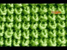 PUNTO ARROZ en 3D. TEJIDO CON DOS AGUJAS # 77 - YouTube Baby Knitting Patterns, Knitting Stiches, Knitting Videos, Knitting Charts, Crochet Videos, Loom Knitting, Stitch Patterns, Tunisian Crochet, Knit Crochet