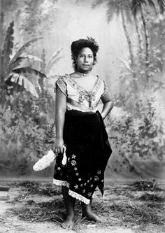 A woman named Suenga, from a Samoan village, circa 1880s-1890s. Photographer unidentified.