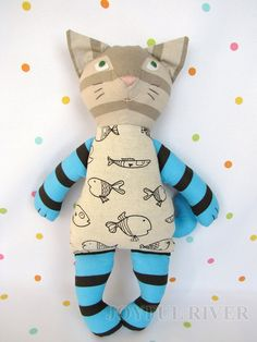 Stuffed toy Joyful tabby Cat Best Baby Toys, Sock Animals, Cat Doll, Cute Toys, Sewing Toys, Fairy Dolls, Stuffed Animal Patterns, Felt Toys, Toddler Gifts