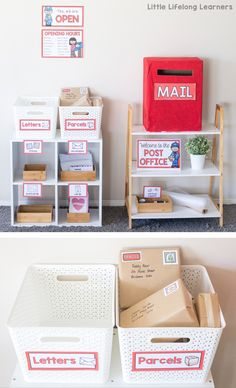 Ideas for setting up a Post Office dramatic play area at home or in your classroom. Printables for early childhood play-based learning. Dramatic Play Area, Dramatic Play Centers, Preschool Dramatic Play, Dramatic Play Themes, Play Based Learning, Play Centre, Play Spaces, Creative Play, Imaginative Play