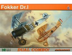 The Eduard 1/48 Fokker Dr.I Triplane Dual Combo plastic aircraft model accurately recreates the real life German fighter flown during World War II. This plastic aircraft kit requires paint and glue to complete.