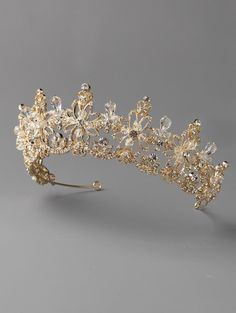 Stunning Crystal and Rhinestone Floral Scroll  Wedding Tiara in Silver or Gold - Affordable Elegance Bridal -