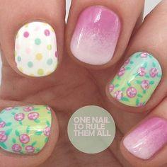 Flowers + Polka Dot + Gradient Nail Design