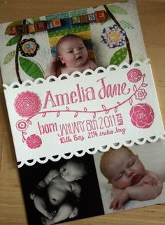 Cute idea for a birth announcement - slip a photo into a printed belly band. In this case a letterpress printed and scalloped band
