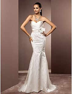 Lanting+Bride®+Trumpet+/+Mermaid+Petite+/+Plus+Sizes+Wedding+Dress+-+Chic+&+Modern+/+Elegant+&+Luxurious+Sparkle+&+Shine+weep+/+Brush+–+USD+$+485.00