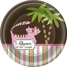 Celebrate your bundle of joy with these fun Queen of the Jungle Dessert Plates! These paper plates are perfect for serving cake and mints to your shower guests.