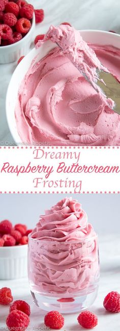 This Dreamy Raspberry Buttercream Frosting is perfectly light, fluffy and creamy. With an authentic raspberry flavour and gorgeous pink colour, this frosting will pair perfectly with any summer, Valentines Day or Mother's Day dessert! Holiday and Event DI Raspberry Buttercream Frosting, Icing Frosting, Buttercream Recipe, Fluffy Frosting, Raspberry Cake Filling, Cake Icing, Raspberry Lemonade Cake, Pink Icing, Butter Icing