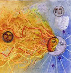 Live by the Sun, Love by the Moon  original mixed media collage by Sharon Giles