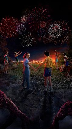 mike and eleven holding hands, aesthetic stranger things wallpaper, dustin lucas max and will watching the fireworks Stranger Things 2017, Stranger Things Actors, Stranger Things Have Happened, Stranger Things Aesthetic, Stranger Things Season, Movie Wallpapers, Cute Wallpapers, Phone Wallpapers, Desktop
