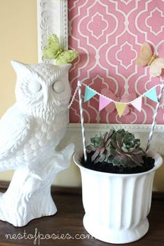 Our Spring Mantel tiny bunting from scrapbook paper