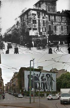 Incrocio tra via Broletto e via dell'Orso negli anni '20 e oggi: dove ora ci sono i cartelloni di Armani, già allora c'era molta pubblicità. Old City, Vintage Photos, Mount Rushmore, Monochrome, Urban, Mountains, History, Travel, Events