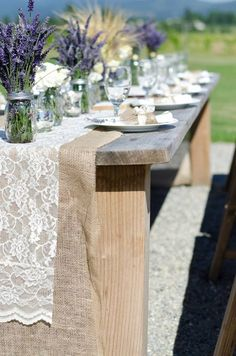 lavender and lace over burlap! country elegance!