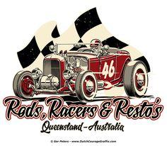 Rods, Racers & Resto's logo art #automotive #hotrod #hot #rod #racer #restoration #logo #artwork
