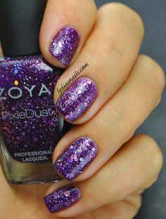 Lydia's Nails: Zoya Wishes Holiday 2014 Swatches and Review  Thea: Deep amethyst Magical PixieDust with an orchid flash, packed full of party-ready holographic hex glitter. Another stunner, beautiful amethyst color that is perfect for the holidays!