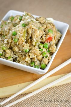 This tasty side dish makes no claims to be authentic, but it's what I think fried rice should taste like. THM:E, low fat, sugar free, gluten/nut free