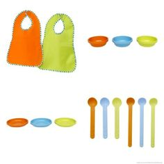 Ikea bibs, bowls, plates, and spoons, Cheap and practical.
